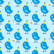 Seamless Pattern Blue Birthday Birds Symbols Blue