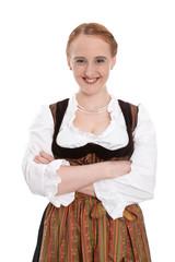 Witziges bayerisches Mädchen im Dirndl isoliert