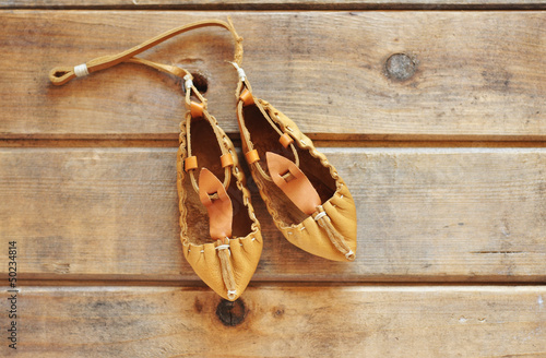Traditional Bulgarian lather shoes - tsarvuli