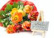 Muttertagskärtchen auf Staffelei mit Tulpenstrauss