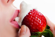 licking sour cream with sweet strawberry