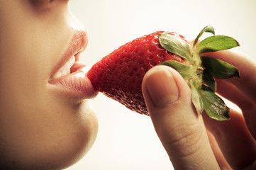 sensual mouth and strawberry
