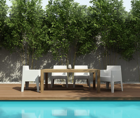 Summer lounge, outdoor dining table by the swimming pool