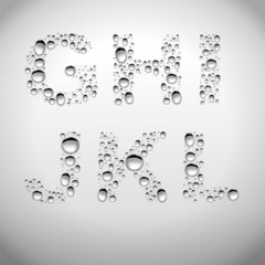 Realistic Water Drops Font from G to L