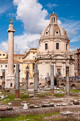 Fori Imperiali - Columns ruins  and Colonna Trajana and Chiesa d