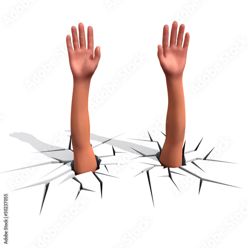 Hands sticks out of a crack
