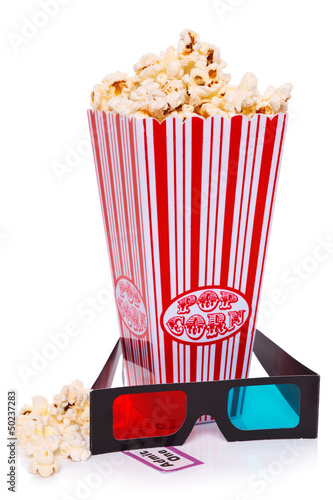 Popcorn, 3D Glasses and Ticket isolated