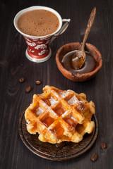 Sweet waffles, honey and espresso