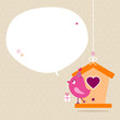 Pink Bird Birdhouse Gift Speech Bubble Beige