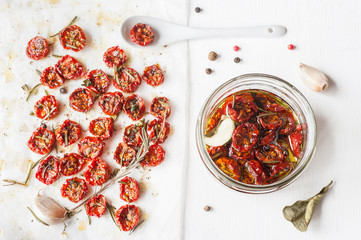 Sun-dried cherry tomatoes with herbs and spices.