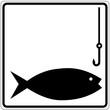 Schild weiß - Fischen