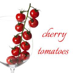 Сherry tomatoes on white background