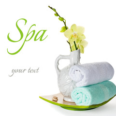 Spa: orchid flowers, zen stones and towels