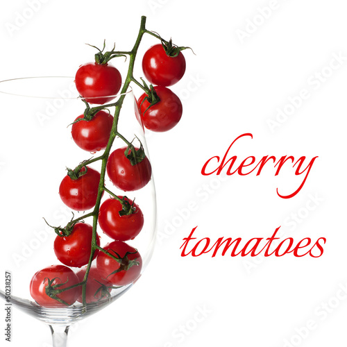 Сherry tomatoes on white background