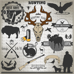 Set of vintage labels on hunting 2