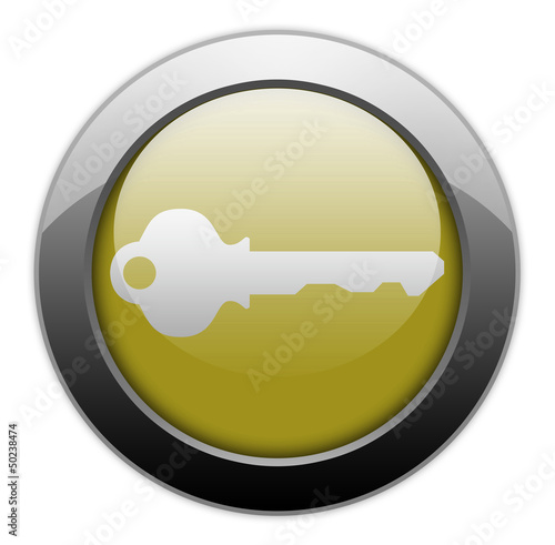 "Yellow Metallic Orb Button ""Key / Login Symbol"""