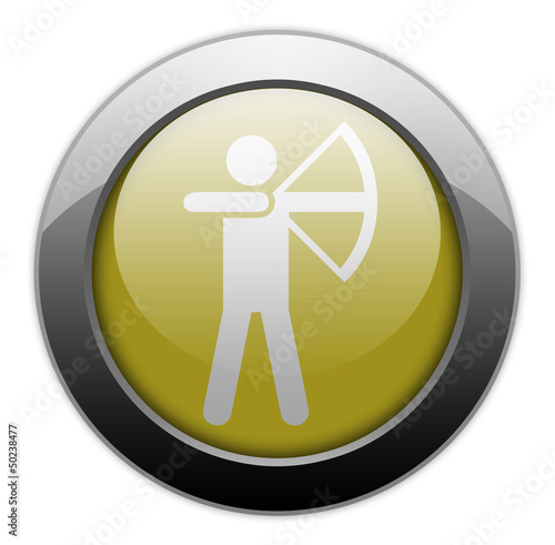 "Yellow Metallic Orb Button ""Archery"""