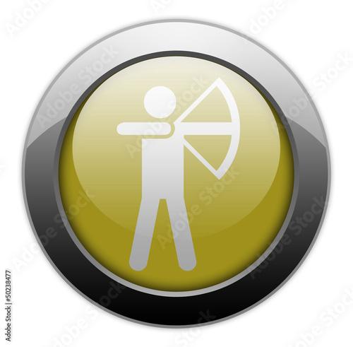"Yellow Metallic Orb Button ""Archery"""
