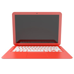 3D render of red laptop isolated on white