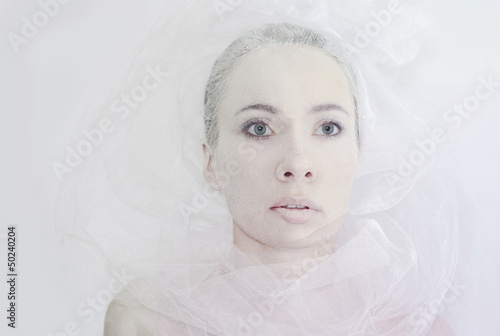 Girl covered with frost