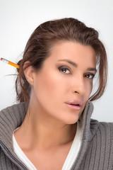 Brunette Beauty Thinking. Seeking Solutions
