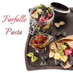 Farfalle Pasta and tomatoes baked with herbs and olive oil