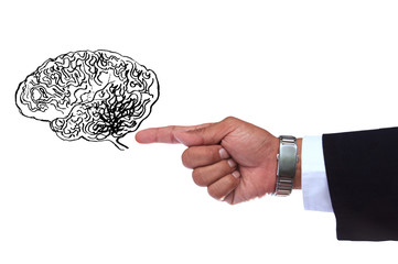 hand pointing to smart brain