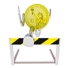 dollar coin robot athlete jumping above hurdle illustration