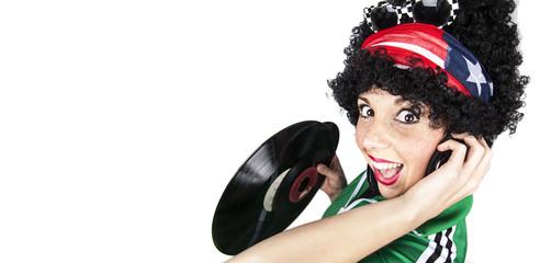 Ragazza Hippy musica disco 70 80 umoristica allegra