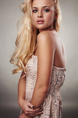 beautiful blond woman with shine hair
