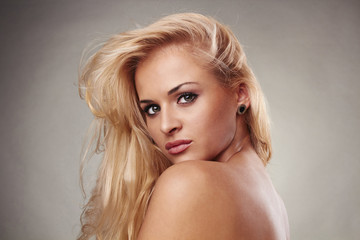 beautiful blond woman with shiny hair