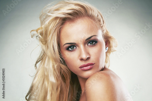beautiful tender blond woman with makeup