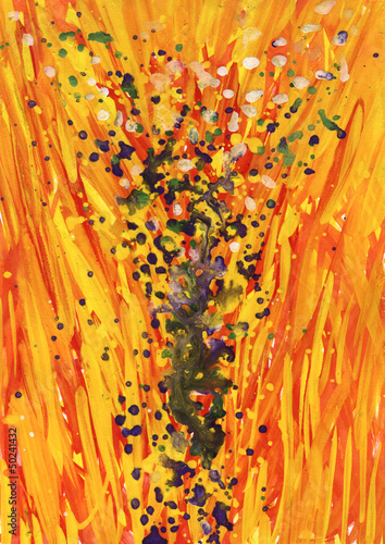 Tree on yellow and red. Art painting