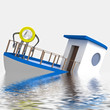 euro coin sinking during cruise illustration
