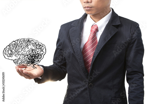 business man and smart brain