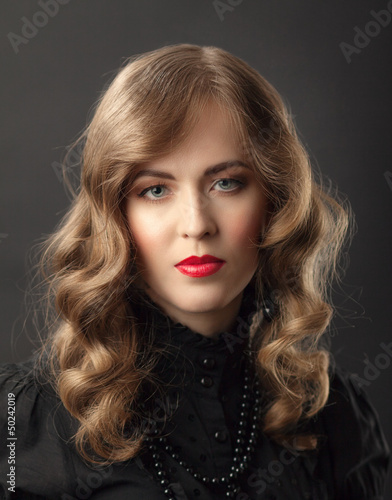 blond woman vintage portrait