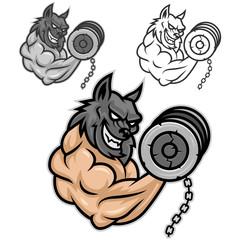 Wolf bodybuilder exercising with dumbbells