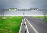 highway for ecological and normal transport with sky poster