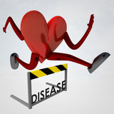 heart health figure jump over disease