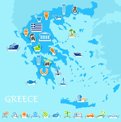 Greece map with icons of the Greek symbols and travel