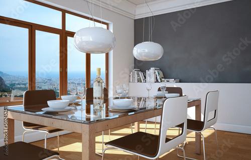 fototapete modernes esszimmer fototapeten aufkleber. Black Bedroom Furniture Sets. Home Design Ideas
