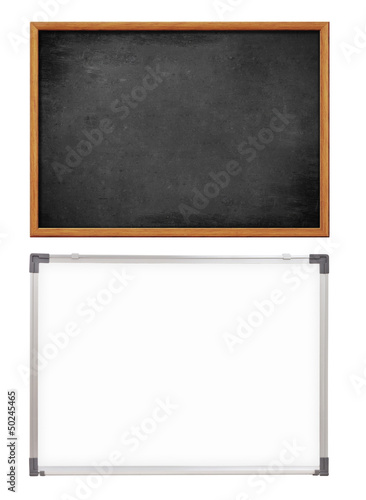 school whiteboard and chalkboard or blackboard