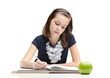 Young schoolgirl is doing her homework, isolated