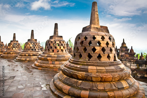 Stupa statue  from Borobudur on Java, Indonesia.
