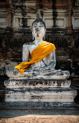 sculpture of Buddha in the ancient city of Ayutthaya Thailand