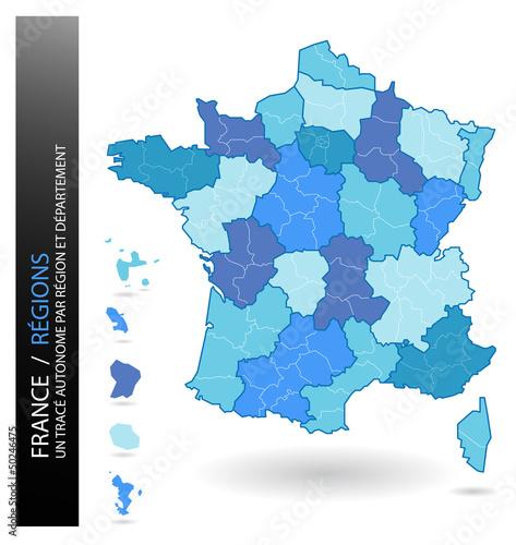 France - Carte muette Régions et Départements