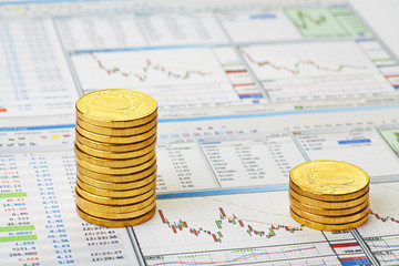 Financial chart and golden coins. Stop-loss. Selective focus
