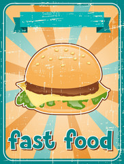 Fast food background with hamburger in retro style.