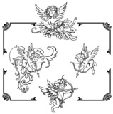 Cupids with ornament frame