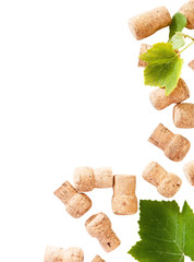 Dated wine bottle corks on the white background